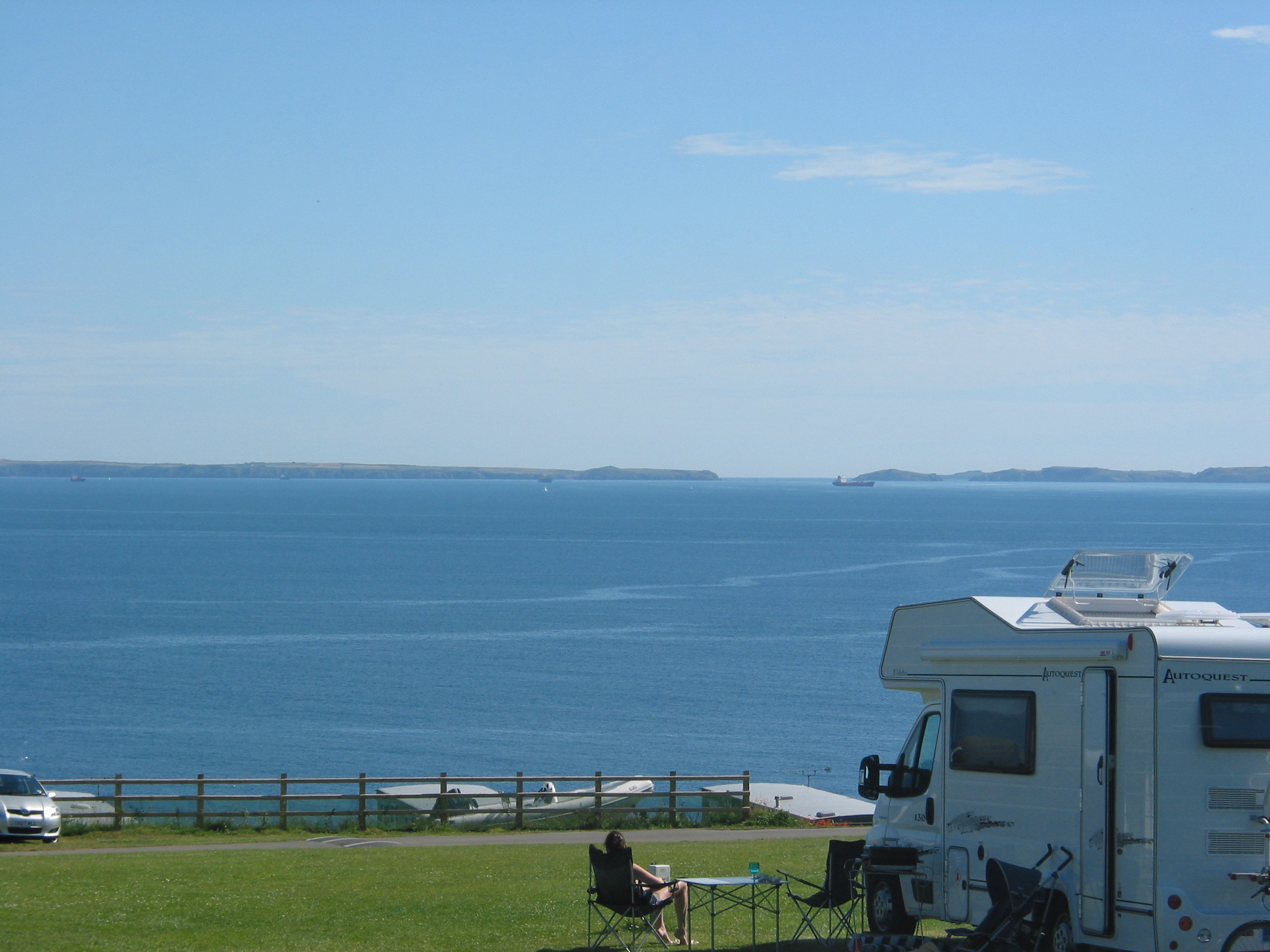 Enjoying the view from the caravan field